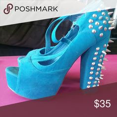 Blue spiked peep toe heels Blue spiked peep toe heels.  Punk rockabilly. Music rock 'n' roll music. Wide heel Vintage Shoes Platforms