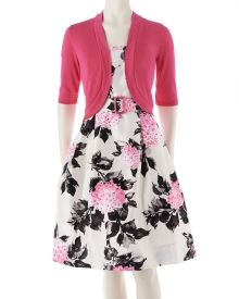 Floral Print Sleeveless Party Dress with Shrug, Main View