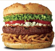 Blue Ribbon Burgur at Red Robin (everywhere). Basted with a tangy steak sauce and topped with crumbled Bleu cheese. Served with crispy onion straws, lettuce, fresh tomatoes and zesty chipotle mayo on an onion bun. Gourmet Burgers, Burger Recipes, Copycat Recipes, Pork Recipes, Cooking Recipes, Recipies, Think Food, Love Food, Garden Burger