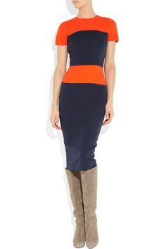 Victoria Beckham | Color-block silk and wool-blend dress | NET-A-PORTER.COM