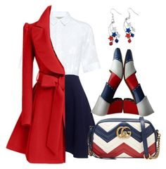 """""""Untitled #448"""" by dhieta17 on Polyvore featuring Paul & Joe Sister, Gucci, Salvatore Ferragamo, WithChic, dress, coat and fourthofjuly"""