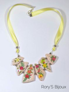 TROPICAL SUNSET (polymerclay applique necklace)
