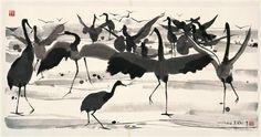 Wu Guanzhong Crane Dance 2002 ink and wash Japanese Painting, Chinese Painting, Japanese Art, Paul Gauguin, Crane Dance, Wu Guanzhong, Chinese Contemporary Art, Art Chinois, Tinta China