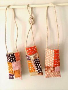 Cool little bags/vases. Fabrics - umbrella prints trimming. Love!!!