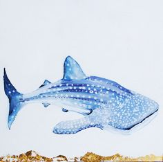 Whale Shark  Original Oil Painting with Gilded 23k by SorchaMoon