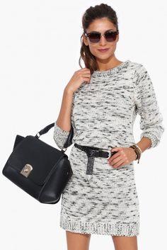 Alpine Sweater Dress in Black/white | Necessary Clothing