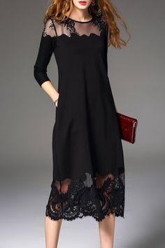 Lace Panel Midi Dress - BLACK S