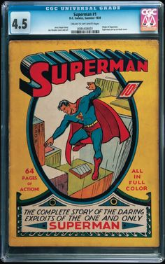 A classic poster of DC Comics superhero Superman! Cover art from Issue by Joe Shuster! Fully licensed - Ships faster than a Speeding Bullet! Check out the rest of our super selection of Superman posters! Need Poster Mounts. Valuable Comic Books, Rare Comic Books, Vintage Comic Books, Comic Book Covers, Vintage Comics, Comic Books Art, Comic Art, Dc Comics, Action Comics 1