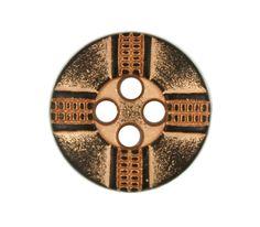 Cross Ribbon Pattern Metal Hole Buttons in Gunmetal Orange Color - 12mm - 1/2 inch