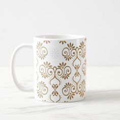 #Gold Ornament Flower Mug - #office #gifts #giftideas #business