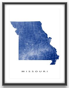 Missouri map print, USA.  See Missouri state like you've never seen it before! This Missouri map features the beautiful and detailed highway patterns and landscape of this US state.  The lighter coloured areas on the map are higher elevations (like mountains) and the darker areas are closer to sea level.  The white roads meet at major cities, such as: * Kansas City * St. Louis * Springfield * Columbia * Jefferson City * St. Joseph #missouri #MissouriMap #MissouriState