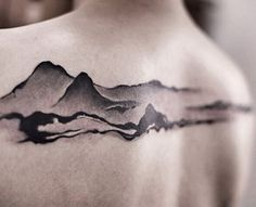 This Chinese ink painting style works perfectly for a smooth mountain range tattoo.