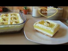 Δροσερό γλυκό με κρέμα και γλάσο λεμονιού ! - YouTube Greek Desserts, Greek Recipes, Candy Recipes, Dessert Recipes, Food Network Recipes, Cooking Recipes, The Kitchen Food Network, Cupcake Cakes, Cupcakes