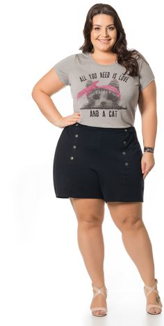 c686dd154b Shorts de Ponto Roma Preto Miss Masy Plus Size
