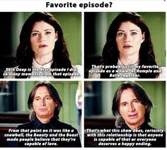 "Bobby and Emilie in OUAT special. Their favourite episode is still ""Skin Deep"" (Credit: rumplestiltskin.tumblr.com)"