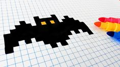 Halloween Pixel Art - How To Draw a Bat #pixelart