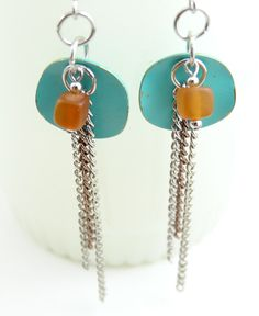 Dangle Earings - Pastel Green Orange Bead Earrings - Handmade Jewelry. $13.99, via Etsy.