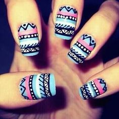 I love these tribal print nails! Tribal Print Nails, Aztec Nail Art, Tribal Nails, Aztec Prints, Tribal Art, Colorful Nails, Funky Nails, Love Nails, Pretty Nails
