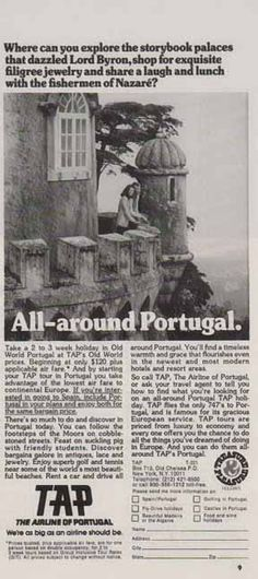 The Airline of Portugal 1977 Ad - TAP - Nazare