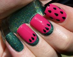 For today's Challenge prompt I have a fun watermelon mani! Best Nail Polish Brands, Watermelon Nail Art, Doll Hair, Gel Nails, Manicures, Mani Pedi, Summer Nails, Nail Designs, Challenges