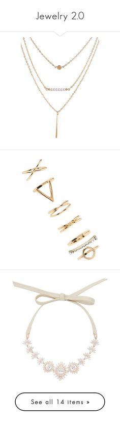 """""""Jewelry 2.0"""" by audjvoss ❤ liked on Polyvore featuring jewelry, necklaces, imitation pearl necklace, layered necklace, faux pearl jewelry, golden jewellery, golden necklace, rings, gold and forever 21"""