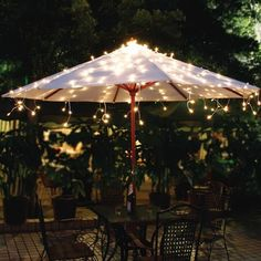 Product Image For Solar Umbrella String Lights In White 1 Out Of 2