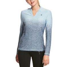 The Ariat Pennant Ombre Baselayer is able to wick away moisture for optimal comfort, features a stretch tek jersey, and a flattering contemporary collar. This shirt works as hard as you do, both in and out of the saddle.