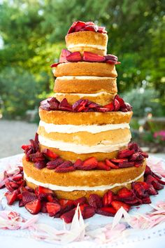 Strawberry shortcake wedding cake without icing on the outside! This is making my mouth water. or with angel food cake... OMG yummm