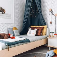 Chances are you may have seen this piccie of Chet's room on my blog or reposted already, but I haven't uploaded it yet and it's one of my faves  You can find the shopping list on my website under Interior Styling> Chet's Room including the canopy, coverlet and rug from @talointeriors. Happy Hump Day xx    #Regram via @oh.eight.oh.nine