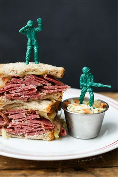 Pastrami on Rye Sandwiches. And army men (because boys are silly).