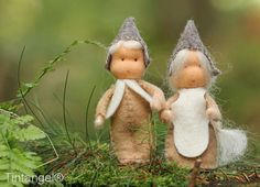 Two little forest people, a man and a woman. They love to live in the Forest House, together, but also with the forest Mice. The work around their