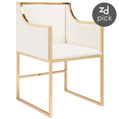 Worlds Away Anabelle White with Brass Chair WAANABELLEBRW