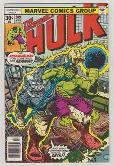 Incredible Hulk; Vol 1, 209, Bronze Age Comic Book. VF (8.0). March 1977. Marvel Comics #hulk #absorbingman #comicsforsale