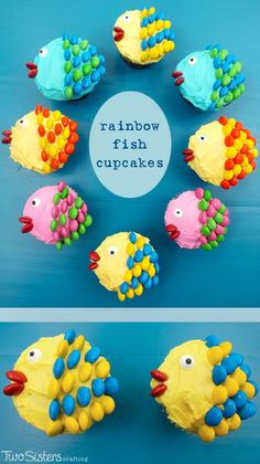 Rainbow Fish Cupcakes - pretty, colorful, yummy and very easy to make. I promise, anyone can do it! All you need are cupcakes, frosting and M&M's. For more fun cupcake decorating ideas Fishing Cupcakes, Kid Cupcakes, Kids Birthday Cupcakes, Animal Cupcakes, Rainbow Cupcakes, Birthday Cake, Themed Cupcakes, Cake Pops, Sister Crafts
