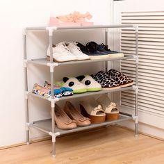 Commercio all'ingrosso in acciaio inox multi-funzione di ricezione rack dormitorio scarpa Corea multistrato tessuto semplice scarpiera