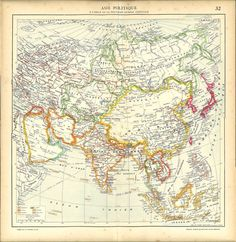1930s Map of Asia Political Division after WWI  by CarambasVintage