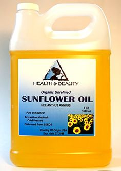 Sunflower Oil Unrefined Organic Carrier Cold Pressed Pure 128 oz 7 LB 1 gal * This is an Amazon Affiliate link. Details can be found by clicking on the image.