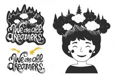 we are all dreamers set by julymilks on Creative Market
