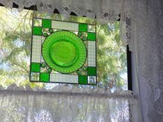 Vintage Stained Glass window Panel Sun catcher