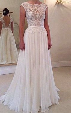 A-line Round Neckline Chiffon Wedding Gown, Lace Long Wedding Dresses, Open Back Wedding Dress, Lace Sleeves Wedding Dress,Wedding Ball Dresses, Bridal Dresses, Wedding Gowns, Ball Gowns, Prom Dresses, Ivory Wedding, Evening Dresses, Dresses 2016, Backless Wedding