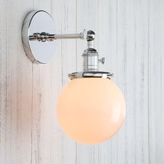 """Permo Vintage Industrial Wall Sconce Lighting Fixture with Mini 5.9"""" Round Globe Milk White Glass Hand Blown Shade (Chrome) - - Amazon.com"""