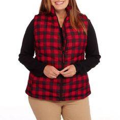 Maxwell Studio Women's Classic Puffer Vest, Black/Red, Small