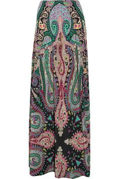 Etro's Exquisite Silk Skirt is patterned with their signature Bohemian Paisley Print in Pink, Purple and Jade Tones on Black. It's made from fluid Silk Crepe de Chine and falls to the floor. Wear it with a Black Silk Cami and a Black Beaded Shoulder Stole. Cinch it all together with a Black Satin Obi Belt. I've got Rubellite Chandelier Earrings, Bracelet and Two Rings. Finish with Merlot Slide Sandals and a Red Crystal Clutch (It's all on this board). Beautiful Summer Look - Gabrielle