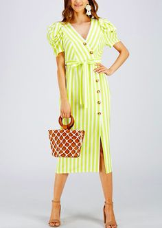Striped Midi Button Down Dress Description: Stand out this summer with this bold stripes and short puff sleeves. Colour: Lime Yellow Fabric: 100% Polyester Lining 100% Rayon Care: Machine Cold Wash. Fit: This dress is loose fitting. The dress is true to size on our size chart. Bust area is accommodating to most cup siz Sunny Dress, Yellow Fabric, Bold Stripes, Button Down Dress, Hello Gorgeous, Every Woman, Size Chart, Wrap Dress, Short Sleeve Dresses