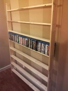 Creative DVD Storage Ideas for Organizing Your Movie Collection PT: Judgment Day — DIY – Shelf for Blu-Rays/DVDs – Heimkino Systemdienste Dvd Bookcase, Diy Dvd Storage, Dvd Storage Shelves, Movie Storage, Dvd Organization, Shelving Units, Shoe Shelves, Storage Ideas, Movie Shelf