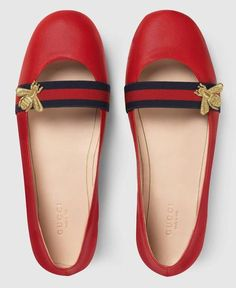 f55433d317c Bee-Embroidered Leather Flat-Red Women s Ballerina Flats