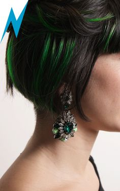 Styling Tip - Green highlights #Swarovski by #Shourouk earrings