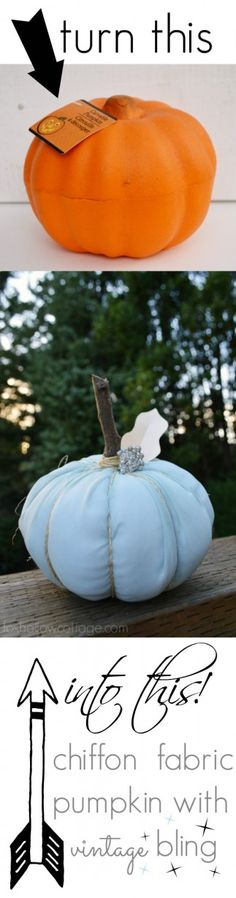 Oh WOW! a fabric pumpkin from a Dollar Tree faux pumpkin? Sweet. Super easy tutorial too!!