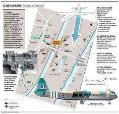 D-Day begins: map Pegasus Bridge - Normandy Landings