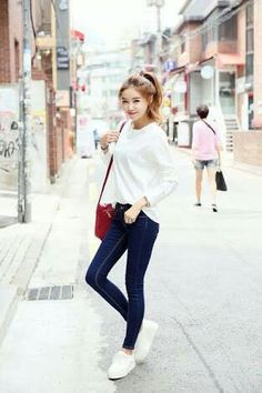 korean fashion denim jeans red blue navy white casual ponytail simple